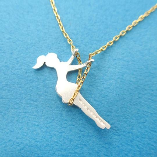 Other Girl Swinging on a Swing Acrobat Charm Necklace in Gold and Silver   Handmade Simple and Dainty Jewelry