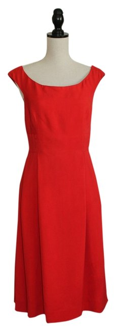 Donna Karan Red Audrey Hepburn-style Mid-length Night Out Dress Size 6 (S) Donna Karan Red Audrey Hepburn-style Mid-length Night Out Dress Size 6 (S) Image 1