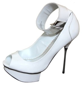 bebe Nicola Cuff Ankle Pin Heel Designer Luxury Heels Stilletoes White Sandals