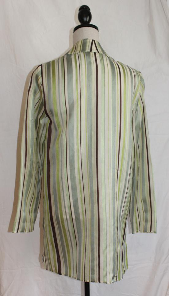 c9ded6212c9f3a Dana Buchman Brown Blue Mint and Chartreuse Silk Tunic Size 8 (M ...