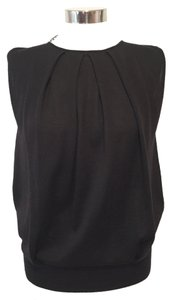 Barneys New York Sleeveless Pleated Shell Top Black