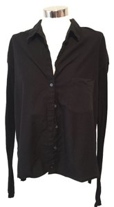 James Perse Botton Front Longsleeve Cotton Casual James Button Down Shirt Black