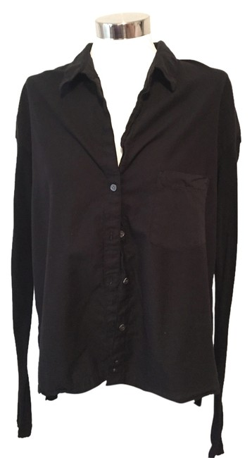 Preload https://img-static.tradesy.com/item/6297100/james-perse-black-cotton-pocket-shirt-with-stretch-knit-long-sleeves-button-down-top-size-8-m-0-0-650-650.jpg