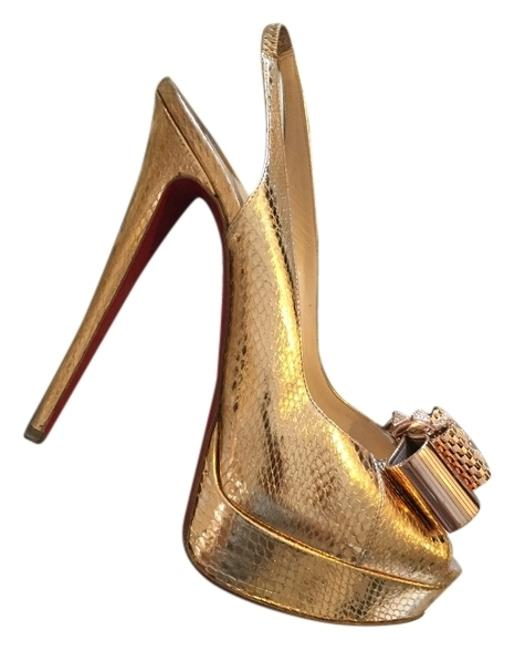 Christian Louboutin Gold Snake Sandals Size US 8.5 Christian Louboutin Gold Snake Sandals Size US 8.5 Image 1