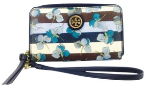 Tory Burch Tory Burch Blue Floral Print Wristlet Wallet New With Tags