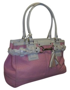 Coach Satchel in pink and white