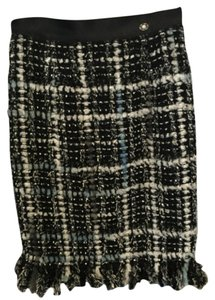 Chanel Skirt Black and blue tweed