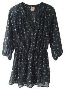 Mossimo Supply Co. Sheer Top Indigo blue with taupe bird print