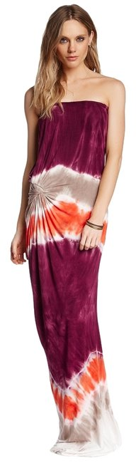 Item - Flame Macaw (Orange Burgundy Taupe) Chandra Long Casual Maxi Dress Size 4 (S)