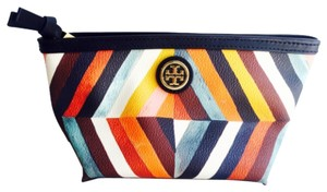 Tory Burch Tory Burch Small Striped Multi Color Cosmetics Bag New With Tags