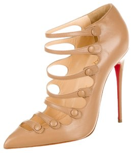 Christian Louboutin Nude Tan Leather Pointed Toe Stiletto Pump Ankle Strappy Cage 39 9 Beige Boots