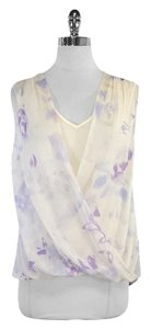 Rebecca Taylor Cream Purple Floral Print Top
