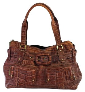 Cole Haan Brown Croc Embossed Leather Shoulder Bag