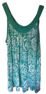 H&M Braided Print Roses Floral Top Teal/white