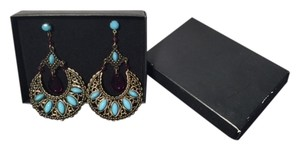 Avon Vintage Avon Dangle Earrings w/Faux Turquoise & Amethyst New in Box