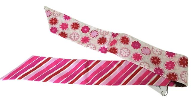 Item - Pink Multi Floral Signature/Striped Ponytail Scarf/Wrap