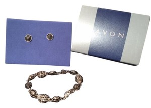 Avon Avon Casual Silvertone Textued Bracelet & Earring Set Small