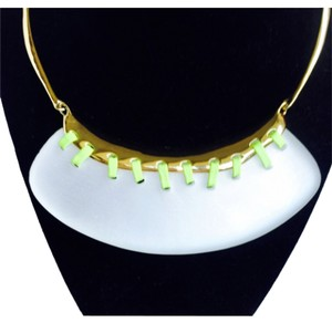 Alexis Bittar Alexis Bittar Lucite Yellow Leather Stitched Bib Necklace New