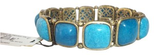 Fossil Fossil Brand Bracelet Teal Turquoise Blue Set Stone Stretch Gold Tone