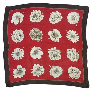 Ellen Tracy Red & Brown Floral Silk Scarf