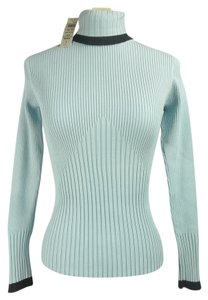 Cache Silk Blend Stretchy Ribbed Sweater