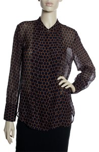 J.Crew 100% Silk Sheer Long Sleeve Button Down Shirt Brown/ Blue