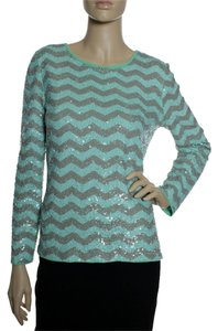 J.Crew Zigzag Sequin Long Sleeve T Shirt Mint Green