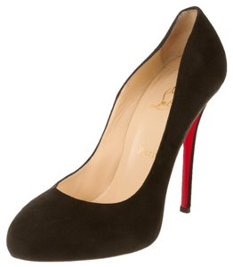 Christian Louboutin Suede Leather Round Black Pumps