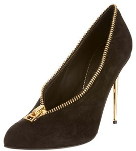 Tom Ford Suede Leather Gold Gold Hardware Zipper Embellished Pointed Toe Stiletto New 39.5 9.5 Black Pumps