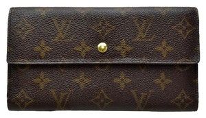 Louis Vuitton Authentic LOUIS VUITTON International Long Trifold Wallet Purse Monogram Canvas Leather Brown France Vintage