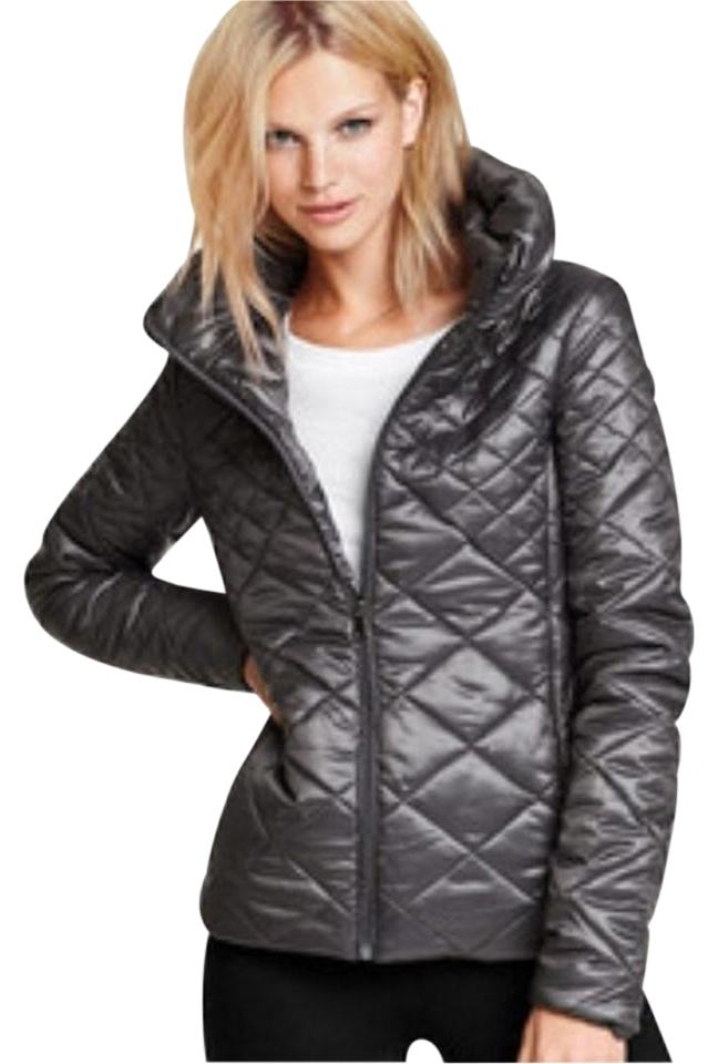 Victoria s Secret Silver Gray Lightweight Puffer Down Packable Quilted Jacket  Coat a81901ff51