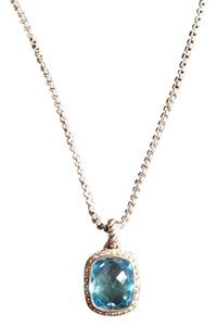 David Yurman New David Yurman Albion Sterling Silver Diamond And Blue Topaz Pendant and Chain