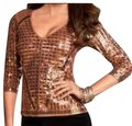 Boston Proper Beaded Sequin Sparkle Vneck Three Quarter Sleeve Holiday Night Out Sweater Image 0