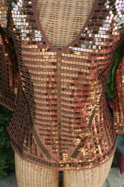 Boston Proper Beaded Sequin Sparkle Vneck Three Quarter Sleeve Holiday Night Out Sweater Image 3