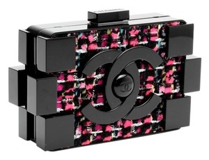 Chanel Plexiglass Tweed Lego Luxury Clutch
