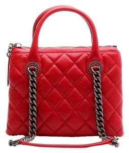 Chanel Red Gunmetal Quilted Leather Tote