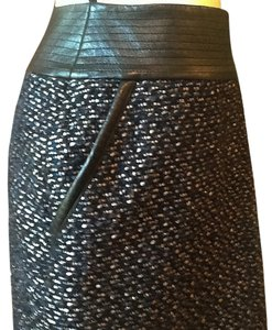 Chanel Flare Leather Trim Boucle Tweed Skirt Multi=Blue Black and Metallic Threading