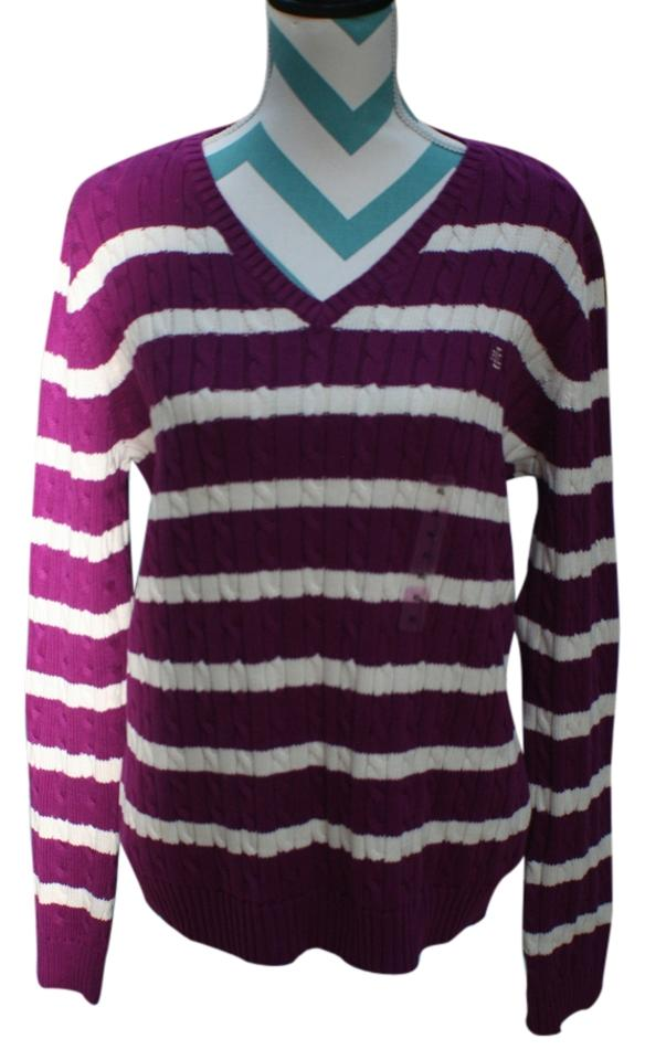 Ralph Lauren Polo Ladies Magentawhite Strip Cable Knit V Neck Rll