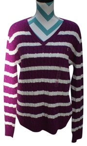 Ralph Lauren Cable Vneck Stripped Sweater