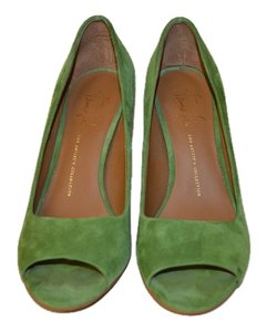 Franco Sarto Open Toe Green Suede Pumps