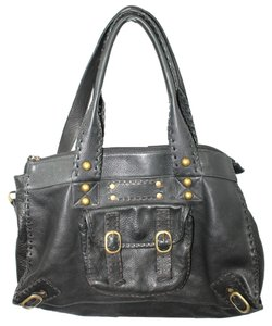 Carla Mancini Slouchy Leather Satchel in BLACK