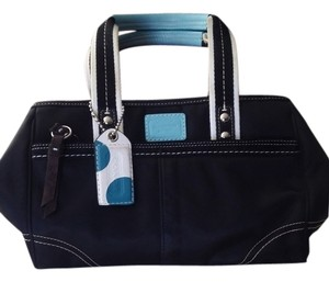 Coach Satchel in Black with Blue