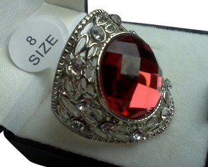 925 silver ring with shield shaped face with lots of details, size 8