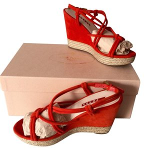 Authentic red suede leather Prada wedges in box! Beautiful and new! Red Wedges