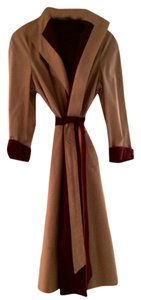 Etienne Aigner Vintage Reversible Raincoat Tan and red Jacket