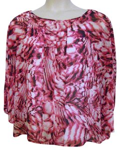 Dana Buchman Dolman Sleeve Sheer With Cami Top Multi-Color Hot Pink