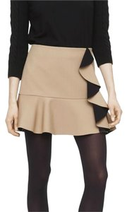 Club Monaco Mini Ruffles Mini Skirt Beige with Black