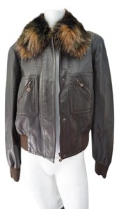 Escada Winter Leather Jeans Leather Fur Trim Ready To Wear Brown Leather Jacket