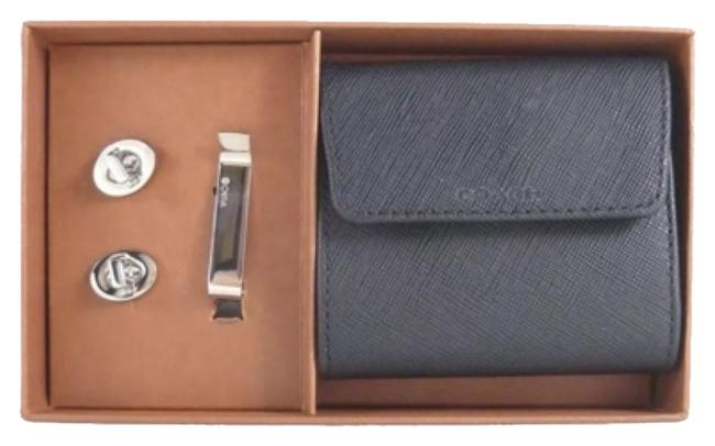 Item - Silver / Black Box W F62692 Men's Silver-tone Cufflinks & Tie Bar Gift Set W/ Gift