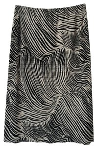Pleat Pleat by Rafael Print Abstract Skirt Black and Tan